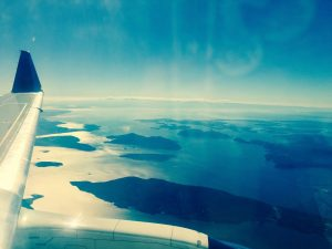 Airplane Wing Over Islands